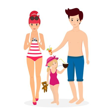Happy Family at Beach. Smiling Mother in Swim Suit with Photo Camera, Father with Cocktail Child Girl with Toy and Coconut Isolated on White Background. Cartoon Flat  Illustration, Clip Art