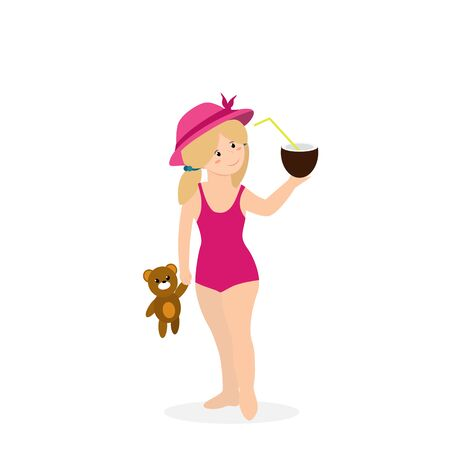 Baby Girl on Beach, Happy Kid in Swim Suit and Hat. Smiling Child with Bear Toy and Coco Nut Cocktail on Seaside Isolated on White Background. Cartoon Flat  Illustration, Clip Art 版權商用圖片