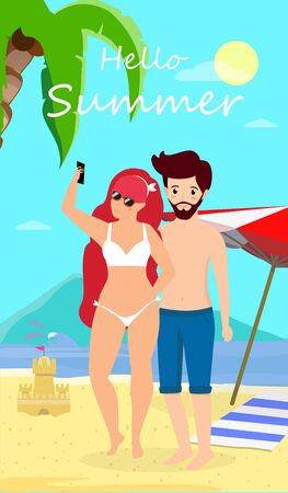 Young Loving Couple Leisure at Tropical Island. Man and Woman in Swimsuits Stand at Sunset Seaside Background Making Selfie and Drinking Cocktail. Summer Time Vacation Cartoon Flat  Illustration Stock Photo
