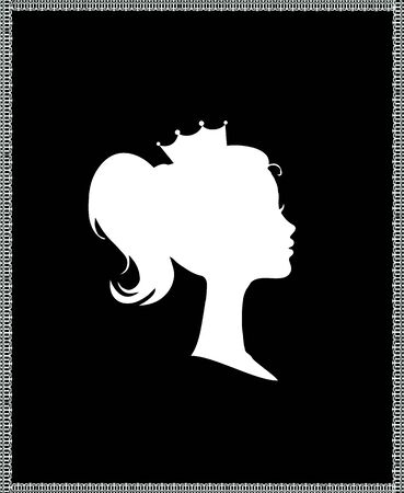 Princess or Queen Profile Silhouette with Crown on Head, Monochrome Cameo Victorian Portrait of Royal Person in Lace Frame, Cute Girl Weraring Tiara Side View, Retro Cartoon Flat Illustration Stock Photo