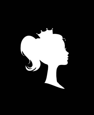 Princess or Queen Profile Silhouette with Crown on Head, Monochrome Cameo Victorian Portrait of Royal Person , Black White Cute Girl Weraring Tiara Side View, Retro Cartoon Flat Illustration