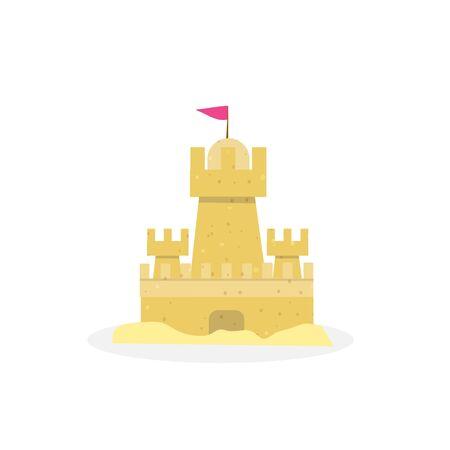 Château de sable, château de sable isolé sur fond blanc, Flyer de l'élément de conception du palais de sable, invitation à une fête, affiche, vacances tropicales, activité estivale, jeu. Dessin animé plat vector Illustration, clipart