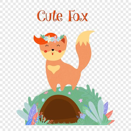 Cute fox in flower wreath stand on foxy burrow isolated on transparent background, sweet animal print for baby design. Cartoon flat vector hand drawn illustration, scandinavian style, icon, clip art Illustration