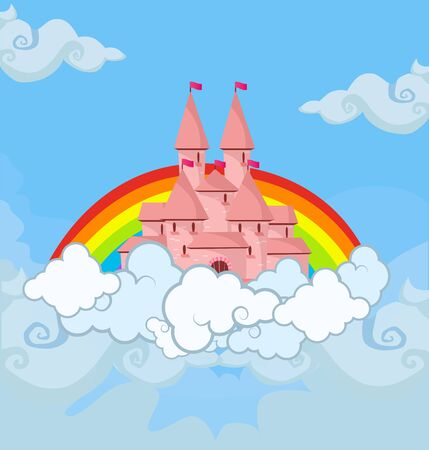 Fantasy princess castle in cloudy sky with rainbow, fairy tale kingdom with pink towers in blue heaven with clouds, cute fairytale palace for child design, flying island. Cartoon vector illustration Vetores