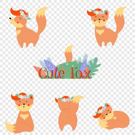Cute fox set isolated on transparent background. Funny kawaii baby foxes in flower wreath in different poses bundle design elements Cartoon flat vector illustration in scandinavian style, clip art