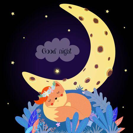 Renard mignon qui dort se recroqueviller dans le champ de la forêt la nuit sous le ciel avec des étoiles et la lune. Carte de bonne nuit avec la conception de bébé animal kawaii Illustration dessinée à la main de vecteur plat de dessin animé, style scandinave boho