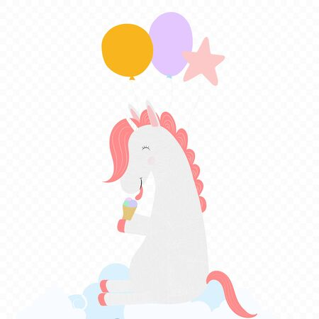 Cute Unicorn with balloons licking ice cream cone sitting on white cloud isolated on transparent background. Happy birthday greeting card, baby shower Cartoon vector scandinavian illustration clip art