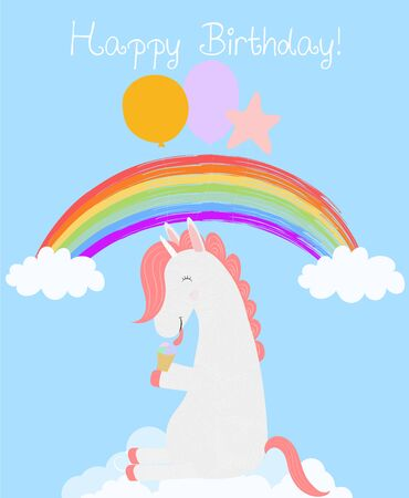 Cute Unicorn with balloons eating ice cream sitting on white cloud in blue rainbow sky. Happy birthday greeting card. Funny horse animal baby shower design. Cartoon vector scandinavian illustration