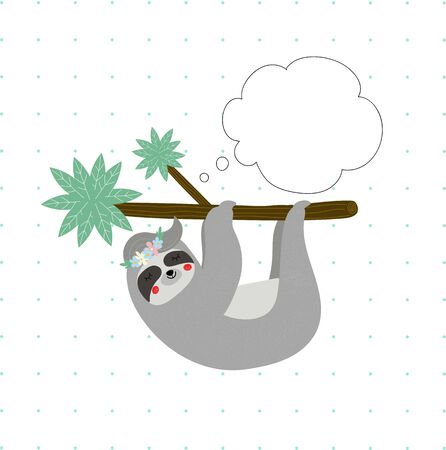 Cute funny sloth in flower wreath sleep hanging on tree branch on white polka dots pattern background, speech bubble Tshirt design print, Cartoon flat vector illustration scandinavian hand drawn style