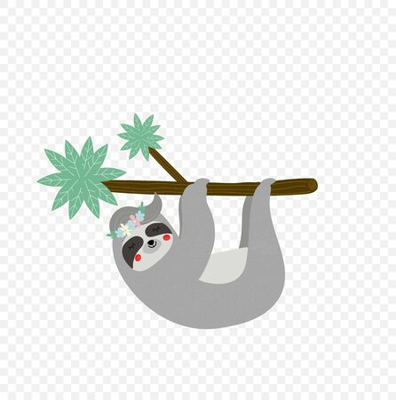 Cute lazy sloth hanging on tree branch isolated on transparent background. Kids t-shirt design print. Portrait of sleepy sloth in flower wreath Cartoon flat vector illustration in scandinavian style
