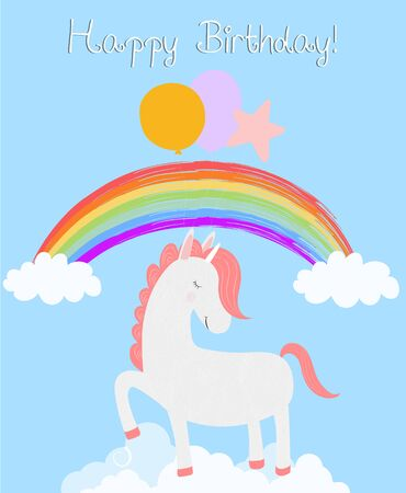 Cute unicorn happy birthday card, white pony with closed eyes hold balloons stamping hooves stand on clouds rainbow sky background. Greeting unicorn cartoon character Vector scandinavian Illustration