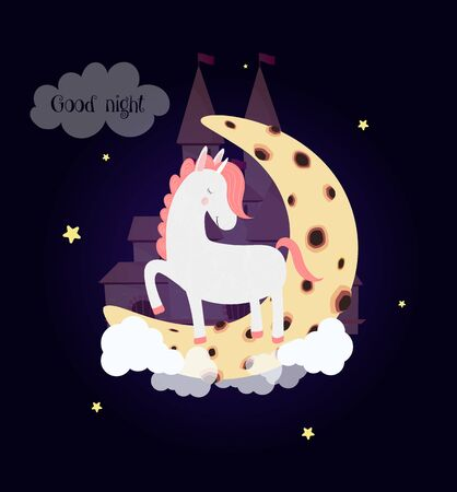 Cute unicorn on moon with dream castle good night card. White pony sleep stamping hooves with closed eyes on clouds at night sky background with glowing stars. Cartoon character  Illustration