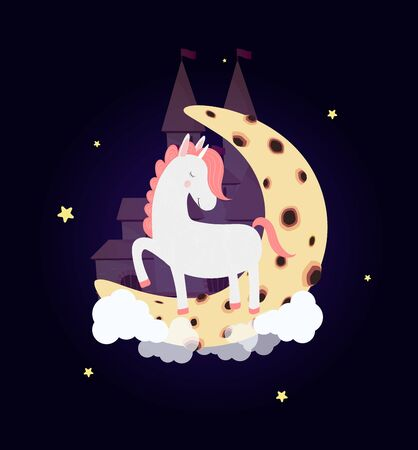 Cute unicorn on moon with dream castle in night sky with stars, wish good night. White horse sleep stamping hooves with closed eyes. Dreaming pony heaven palace background  Cartoon Illustration