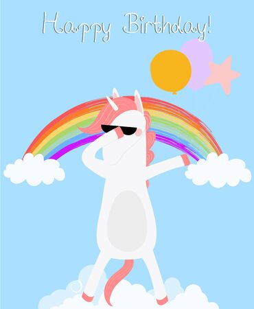 Dabbing Unicorn happy birthday greeting card. Dab horse in glasses with balloons disco dancing on cloud rainbow. Cute animal baby shower design Party unicorn Cartoon  scandinavian illustration
