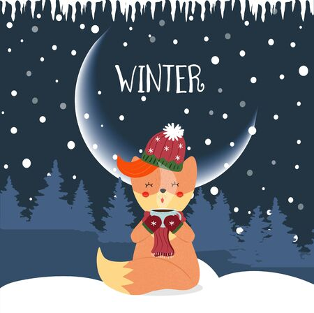 Cute baby fox in hat and scarf sitting on snow hold mug with hot drink at night winter background with fir trees and falling snowflakes Cartoon flat vector hand drawn illustration, scandinavian style