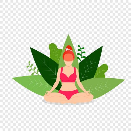 Woman Practicing Yoga. Girl Meditate Outdoor in Park in Lotus Position on Transparent Background with Green Leaves. Padmasana Pose for Relaxing and Meditation. Cartoon Flat Vector Illustration, Icon Illustration