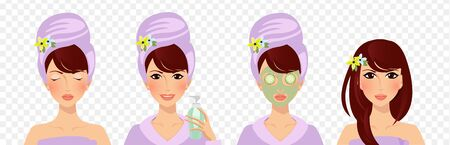 Applying face mask before after set. Facial beauty cream usage isolated on transparent background. Skin care acne treatment beauty health cosmetics product. Cartoon flat vector illustration, clip art 向量圖像