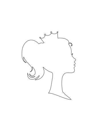 Princess or Queen Profile Silhouette with Crown on Head, Outline Monochrome Retro Cameo Victorian Portrait of Royal Magestic Person, Cute Girl Weraring Tiara Side View Cartoon Flat  Illustration