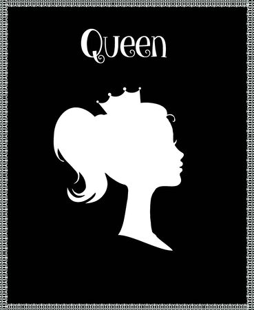 Princess or Queen Profile Silhouette with Crown on Head, Monochrome Cameo Victorian Portrait of Royal Person in Lace Frame, Cute Girl Weraring Tiara Side View, Retro Cartoon Flat  Illustration 版權商用圖片