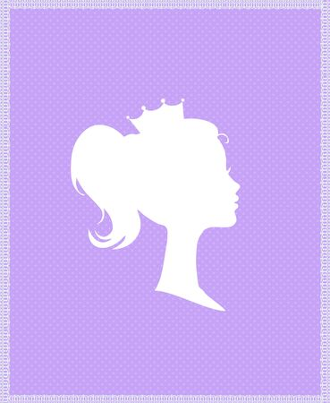 Princess Queen Profile Silhouette with Crown on Purple Background with Typography Retro Greeting Card, Victorian Portrait of Royal Person Cute Girl in Tiara Side View Cartoon Flat  Illustration