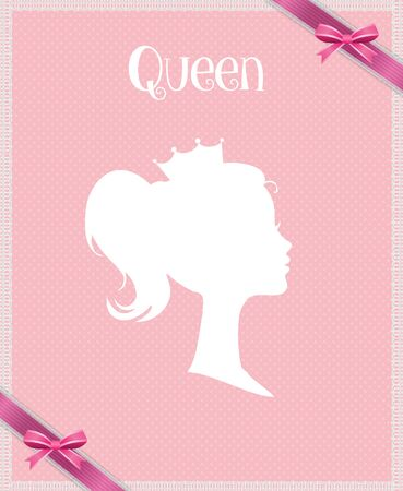 Princess or Queen Profile Silhouette with Crown on Pink Background with Ribbon, Greeting Card, Victorian Portrait of Royal Person, Cute Girl in Tiara Side View, Retro Cartoon Flat  Illustration