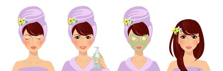 Applying face cucumber mask steps guide. Facial beauty cream usage isolated on white background. Skin care and acne treatment beauty health cosmetics product Cartoon flat  illustration, clip art 版權商用圖片