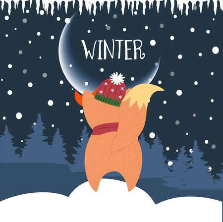 Cute winter fox looking at moon standing on snowdrift with fir trees background and falling snow. Back view fox in scarf and hat, xmas Cartoon flat  hand drawn illustration, scandinavian style