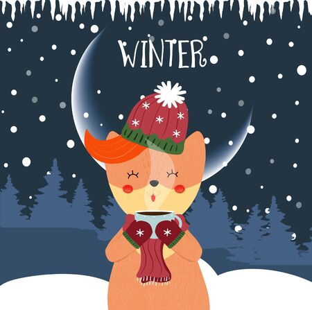 Cute winter fox drinking hot tea. Kawai baby fox on scarf, hat and mittens holding cup with hot beverage on night snow forest background. Cartoon flat  hand drawn illustration scandinavian style
