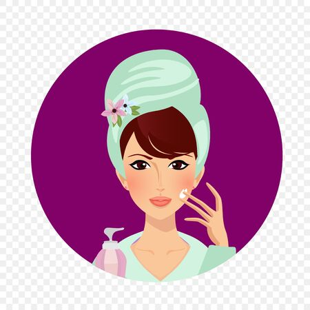 Girl apply cream on face. Young woman in bathrobe and towel around head holding cosmetics bottle in hand put gel care on skin after bathing. Cosmetic product ad Cartoon flat vector illustration, icon 向量圖像