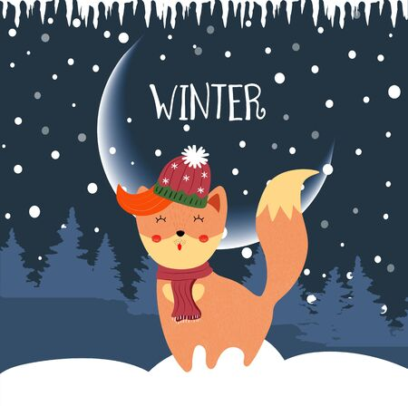 Cute winter fox enjoying falling snow standing on night background with snowdrifts and fir trees. Kawaii fox in scarf christmas greeting Cartoon flat  hand drawn illustration, scandinavian style 版權商用圖片