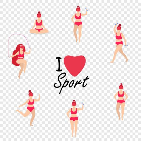 Workout Girl Set. Woman Full Body Fitness, Yoga Exercises with Dumbbells, Jumping Rope. Fitness, Weight Loss. Plus Size I Love Sport Cartoon Flat Vector Illustration Isolated on Transparent Background 版權商用圖片