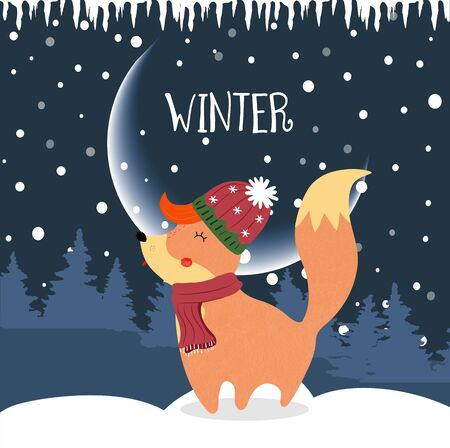 Cute winter fox in knitted hat and scarf on night snowy background with fir trees and snowdrifts. Christmas holidays and New Year Card Cartoon flat vector hand drawn illustration, scandinavian style