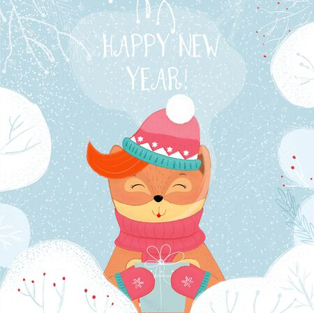 Happy New Year Greeting Card Winter Fox Holding Wrapped Gift Box. Kawai Baby Fox in Scarf, Hat and Mittens Holding Present on Snowy Background. Cartoon Flat Hand Drawn Illustration Scandinavian