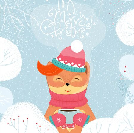Merry Christmas card winter fox drinking hot tea. Kawai baby fox in scarf, hat and mittens holding cup with hot beverage on snowy background. Cartoon flat hand drawn illustration scandinavian