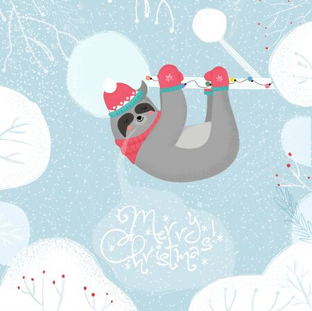 Cute Funny Sloth in Knitted Hat and Scarf Sleep Hanging on Tree Branch on Winter Snowy Background, Merry Christmas Greeting Card. Kawaii Animal Xmas Fun Cartoon Flat Vector Scandinavian Illustration