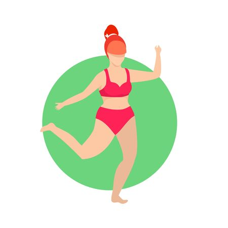 Fatty Woman in Red Swim Wear Running Jogging Isolated. Bodypositive Weight Loss Concept, Girl Exercising in Gym Training Workout Healthy Lifestyle. Sportswoman Cartoon Flat  Illustration, Icon 版權商用圖片