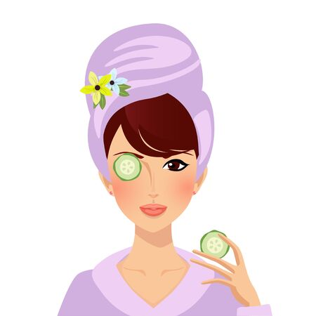 Young woman put cucumber on face and eyes. Portrait cute girl in bath robe and turban on head applying skin care cosmetics beauty procedure moisturizing facial mask Cartoon Flat Illustration