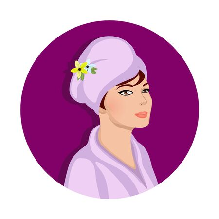 Spa Cosmetics Procedure in Salon or Bathroom, Woman in Bath Robe Wrap in Towel Turban on Head. Portrait Isolated on White Background. Wellness Shower Routine Hygiene Cartoon Flat Vector Illustration