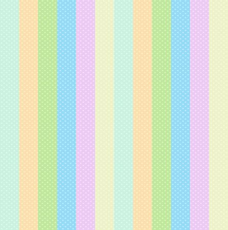Stripe Background of Pastel Baby Colors and Polka Dots. Seamless Vertical Pinstripe Pink Blue Green Orange and Yellow Palette for Wallpaper Scrapbook, Cute Textile Child Pattern. Vector Illustration