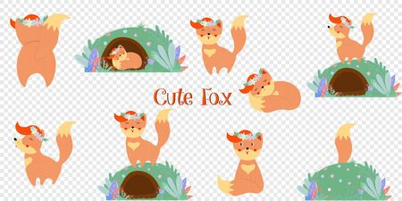 Cute fox big set isolated on transparent background. Funny kawaii baby foxes in flower wreath in different poses bundle design elements Cartoon flat vector illustration in scandinavian style, clip art Stock fotó - 133061978