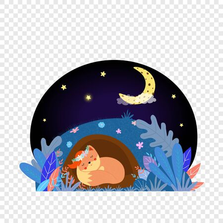 Cute fox sleeping in hole at night under sky with stars and moon icon. Good Night card, kawaii animal in flower wreath curl up on grass, baby design Cartoon flat vector illustration scandinavian style