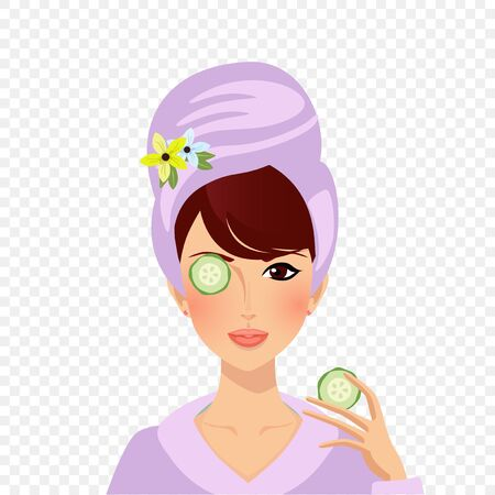 Cute girl put cucumbers on eyes. Portrait of young woman in bath robe and turban on head applying skin care cosmetics beauty procedures. Cleansing moisturizing mask. Cartoon Flat Vector Illustration