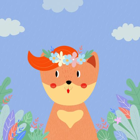 Cute fox in flower wreath among plants and leaves on field in rainy day. Summer Spring Autumn Fall Seasons Animal in Forest, Baby Print Cartoon flat  hand drawn illustration, scandinavian style 版權商用圖片