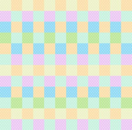 Polka dot checkered background seamless pattern with orange pink blue yellow green squares and checks. Pop art backdrop, baby shower wallpaper, multicolored wrapping paper Cartoon vector illustration