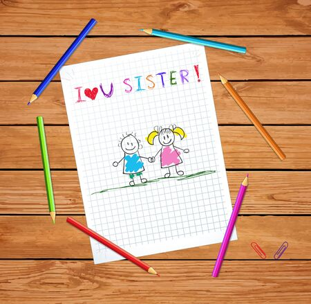 I love you sister kids hand drawn illustration of boy and girl holding hands on notebook checkered paper sheet on wooden table with colored pencils. Greeting card sibling or cousin vector illustration Illustration