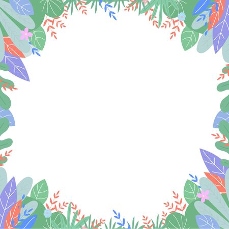 Leaves drawing frame, square boho border in scandinavian style with plants leaf and flowers with place for text on white background. Card photo frame template banner Cartoon flat vector illustration 向量圖像