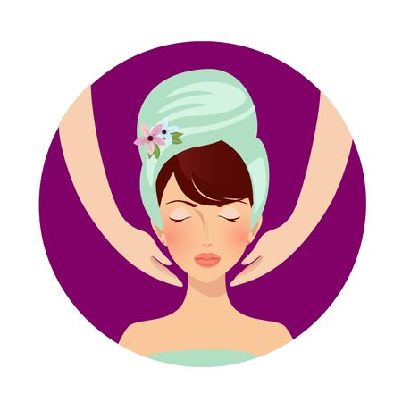 Face massage in spa salon. Relaxed woman with closed eyes and towel on head portrait and hands. Girl relaxation skin care medical procedure wellness. Cartoon Flat vector Illustration, Icon Clip art
