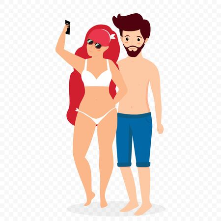 Couple Making Selfie on Beach, Young Bearded Man in Swimming Shorts and Woman in White Bikini Swimsuit Photographing Isolated on Transparent Background. Cartoon Flat vector Illustration, Clip art