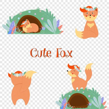 Cute fox set, sleeping in hole, rear view, boho forest animal collection isolated on transparent background. Baby t-shirt print Cartoon flat vector hand drawn illustration, scandinavian style clip art