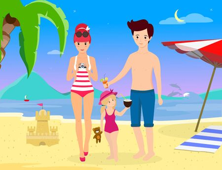 Happy Family at Beach Party. Smiling Parents with Child Stand on Sand Enjoy Cocktail Photographing on Seaside Background with Dolphins Palms Umbrella and Sandy Castle. Cartoon flat vector illustration